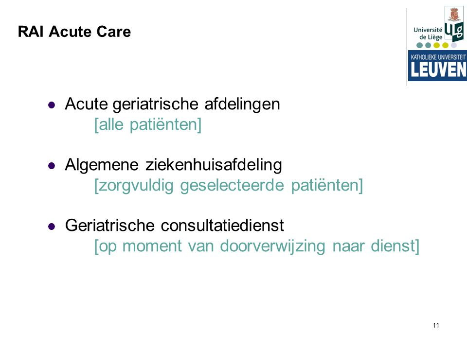 Acute geriatrische afdelingen [alle patiënten]
